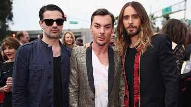 Thirty Seconds to Mars musicians (L-R) Tomo Milicevic, Shannon Leto and actor-singer Jared Leto.