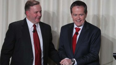 Anthony Albanese (left) and Bill Shorten during Tuesday night's leadership debate.