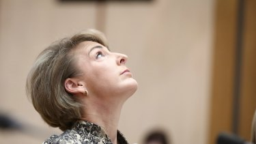 Employment Minister Michaelia Cash takes questions during the Senate estimates hearing.