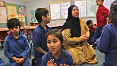 Invaluable … Rizwana Ijaz teaches 120 students in her classes in Urdu, the language of Pakistan. Hampden Park Public is the only school in the state to offer it.