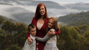 Philanthropist Dr Catriona Wallace with her children Saxon, 8, and Indigo, 10.