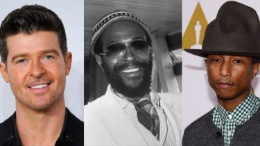 (From left) Robin Thicke, Marvin Gaye and Pharrell Williams.