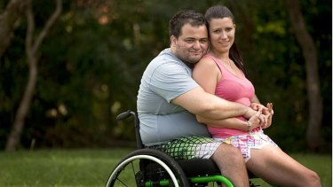 Sharing his experience: Damien Delgado with fiance Jessica-Anne Whitney.