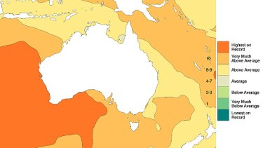 Sea-surface temperatures over past three years. Source: BoM.