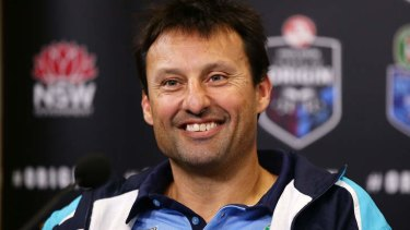 Started off well: Laurie Daley's was all smiles after game one of the 2013 State of Origin series.