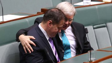 """Ed Husic, pictured with Kevin Rudd, says Gary Gray's comments were """"pretty provocative""""."""