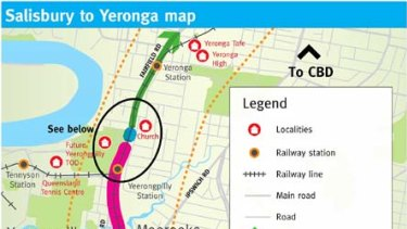 A map showing the line from Salisbury from Yeronga.