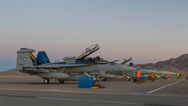 EA-18G Growlers from Number 6 Squadron arrive at Nellis Air Force Base, Nevada, for Exercise Red Flag 18-1.
