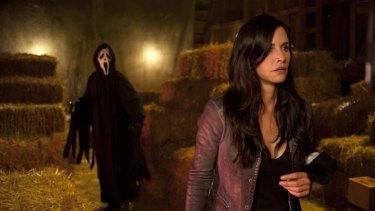 Courteney Cox in a scene from <i>Scream 4</i>.