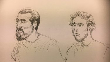 An artist's sketch of Hamza Abbas, on left, and Ahmed Mohamed facing the Melbourne Magistrates Court.
