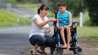Debbie Waller with her disabled son Keeden.