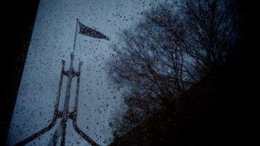 Storm over Parliament House on Monday. Photo: Alex Ellinghausen