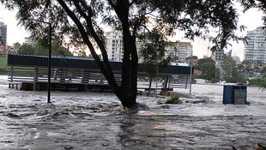 The New Farm Park CityCat terminal appears to have been destroyed by the floods. Photo: Robert Shakespeare