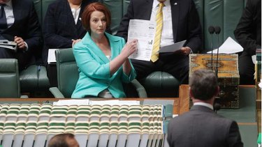 Prime Minister Julia Gillard makes a point to Tony Abbott about the bill.