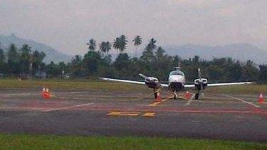 The Australian plane on the tarmac at Manado's Sam Ratulangi airport.