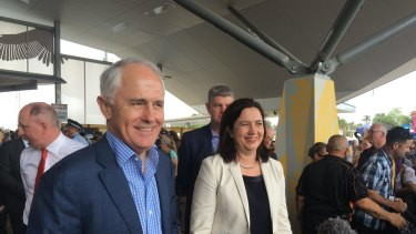 The Prime Minister and Premier at the opening of the Redcliffe Peninsula line last October.