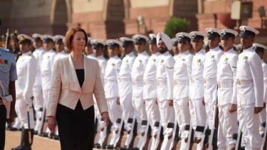 Prime Minister Julia Gillard is given a ceremonial welcome at the Presidential Palace, during her official visit to India last year.