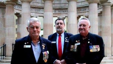 Deservedly honoured ... Vietnam War veterans Carl Boye, David Fiechtner and John Smith.