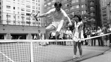 Bobby Riggs and Billie Jean King in the documentary <i>The Battle Of The Sexes</i>.