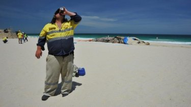 Thirsty work at Scarborough's whale removal site.
