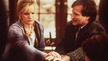 Board members ... Bonnie Hunt and Robin Williams in a scene from Jumanji.