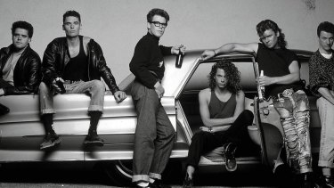 Lead singer of INXS, Michael Hutchence (centre), in the early years.