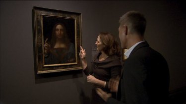 <i>Leonardo Live</i> features arts practitioners - such as actress Fiona Shaw, seen here discussing da Vinci's <i>Salvator Mundi</i> - interpreting and responding to the artist's works.