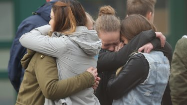 Students at the Joseph-Koenig-Gymnasium high school mourn their friends who were killed in the Germanwings crash.