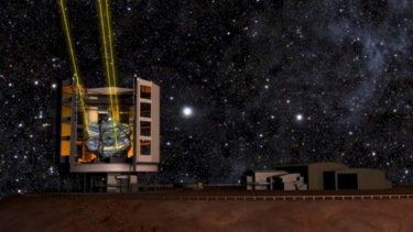 Computer-generated images of the planned Giant Magellan Telescope using  lasers and adaptive optics. <em> Photo: Giant Magellan Telescope Organization </em>