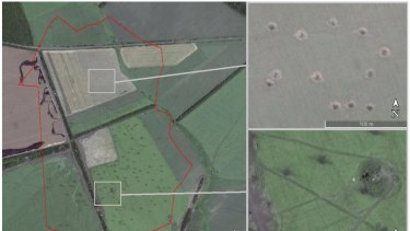 A still of craters inside the Ukraine from the Bellingcat report, which shows Russia fired shells from its territory.