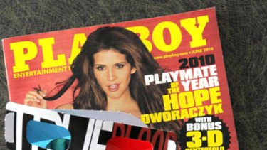 Eye-popping ... Playboy magazine introduces the 3D centrefold.