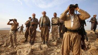 Kurdish Peshmerga near the town of Makhmur, south of Erbil, capital of Iraqi Kurdistan preparing to fight Islamic State militants.