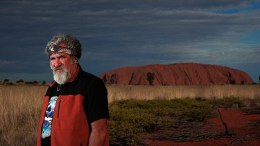 Sam Backo, who as a six-year-old was part of the 'yes' campaign, at Uluru.