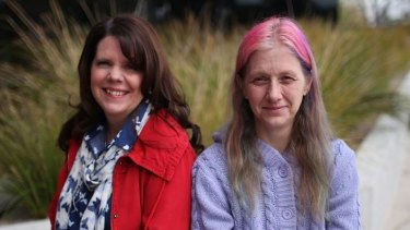 Doncare volunteer Wendy Ryan (left) and Belinda Aston, who left an abusive relationship.