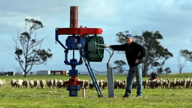 Farmer Gregor McNaughton pictured with an exploratory gas well, welcomes the industry.
