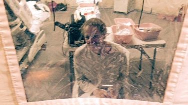 """""""I will go to court to fight for my freedom"""": Kaci Hickox in an isolation tent on October 26."""