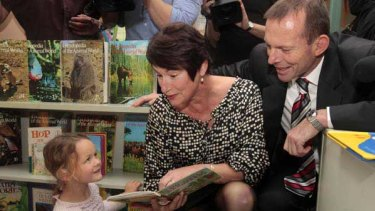 Tony Abbott and wife Margie on a visit to the Sesame Lane child care centre in Brisbane.