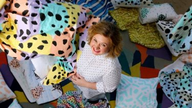 Textile designer Jess Wright  in her studio and retail space.