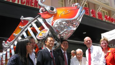 The official party at the opening of the $8 million overhaul of Brisbane's Chinatown Mall at Fortitude Valley.