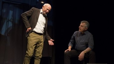 Ghosts in the scheme:  Bruce Myles, left, as Morgan and Lex Marinos as Tony in the play about the lives of three people involved in the Snowy River hydro electric scheme.