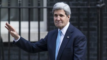 John Kerry leaves Number 10 Downing Street after meeting the British Prime Minister.