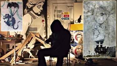 Man of mystery ... street artist Banksy, who has directed a new documentary, does not want highly valuable work, such as Melbourne's rat, top left, and this stencil in Enmore, top right,   protected.
