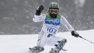 Ghana's Kwame Nkrumah-Acheampong skis during the first run of the men's alpine skiing slalom event at the Vancouver 2010 Winter Olympics in Whistler, British Columbia on February 27.