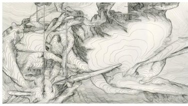 Drawing Water Table, 10m x 3m wall mural by James Geurts.