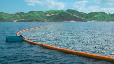 An artist's impression of the clean-up platform between Japan and Korea.