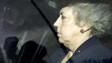 Eliza Manningham-Buller leaves after giving evidence to the Iraq War Inquiry in London.