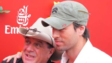 Molly Meldrum with singer Enrique Iglesias in the Emirates marquee.