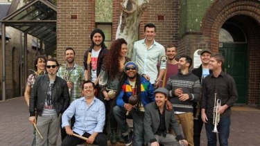 One big, happy, musical family ... the musicians of Cumbiamuffin, from Australia and Colombia.