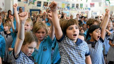 Let's hear it: In harmony with 500,000 students nationwide, Bourke Street Public School students sing <i>Keep On</i>.