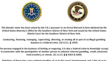 This FBI warning comes up when trying to visit the .com sites of PokerStars, Full Tilt Poker and Absolute Poker.